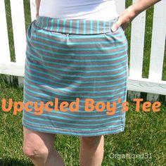 Organized 31 - $1 New Boys Tee Upcycled into a Skirt