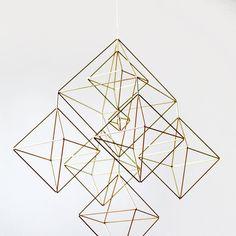 Large Brass Himmeli / Modern Hanging Mobile / Geometric by HRUSKAA