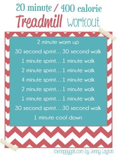 20 Minute/400 Calorie Treadmill Workout - The Happy Gal
