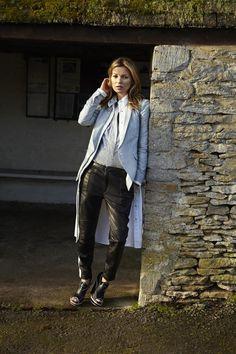Kate Moss for our Spring/Summer 2013 wearing the Jefferson Blazer, Winchester Shirt Dress & Moto Pant, shot by Alasdair McLellan