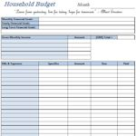 Household budget sheets