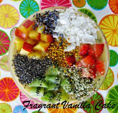 Raw Cake Batter Smoothie Bowl with Fruit Confetti from Fragrant Vanilla Cake