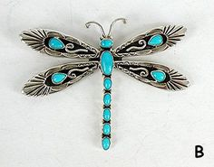 Authentic Native American Navajo Dragonfly pin pendant