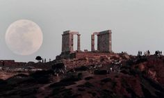 """The """"Super Moon"""" over the Temple of Poseidon in Athens, Greece 5/5/12"""