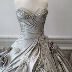 Silver wedding dress | Maybe not the colour but definitely love the detail wedding dressses, ball gown silver, silver fashion bridal, ball gowns, grey weddings, silver wedding dresses, beauti, ball dresses, silver weddings
