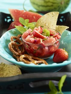 We're addicted to anything watermelon like this Watermelon Strawberry Mint Salsa – it helps protect skin from sun damage.