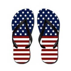 #Patriotic Stars and Stripes Flip Flops.  #flipflops