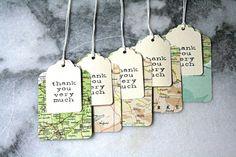 100 layered vintage atlas thank you tags, wedding favor or destination wedding via craftyclementines
