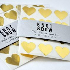 144 Gold Heart Stickers  FREE SHIPPING by knotandbow on Etsy, $12.00