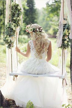 Such a romantic photo.  Love the idea of the swing.