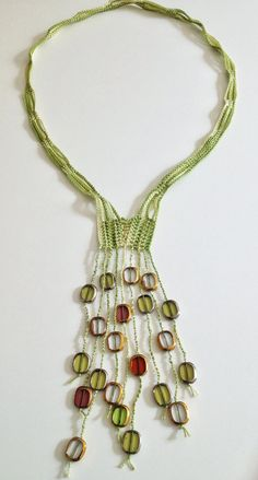 Mixed greens beaded necklace by GabyCrochetCrafts on Etsy and lots of other crochet jewellery.