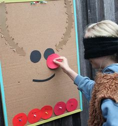 Kids Christmas Crafts - Pin the Nose on the Reindeer - Click Pic for 18 Christmas Party Ideas for School