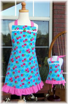 Tutti Fruitti Matching Aprons for Girls and Their 18 inch Dolls -  via Etsy.