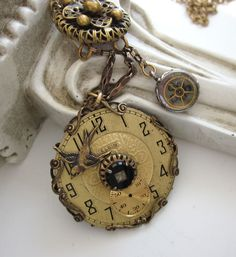 Steampunk Vintage Assemblage Watch Necklace - Vintage Button, Bird, Handmade, One of a Kind by JryenDesigns