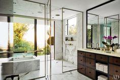 The master bath of designer Waldo Fernandez's Los Angeles home.