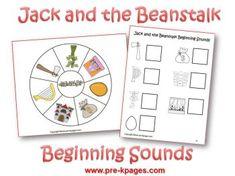 Jack and the Beanstalk beginning sounds via www.pre-kpages.com/jack/ stori, preschool activities, classroom, nurseri rhyme, three bear, idea, literaci, fairi tale, beginning sounds