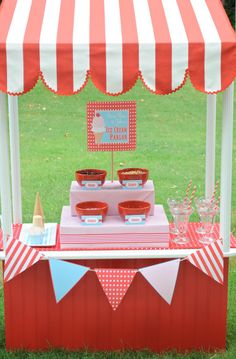 red and aqua ice cream party printables on etsy