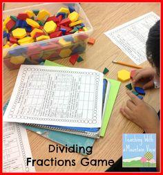 fraction anchor, fraction game, divid fraction, game freebi, anchor charts, dividing fractions, math idea, hey teacher, math journals