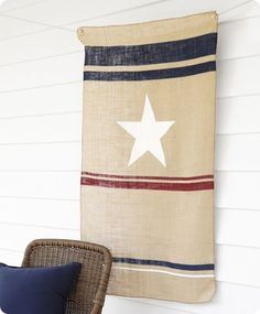 fourth of july hanging burlap flag tutorial