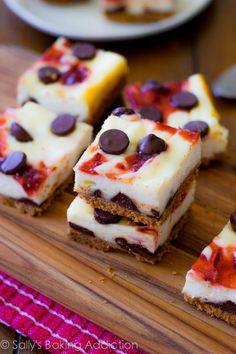 Strawberry Swirl Chocolate Chip Cheesecake Bars.