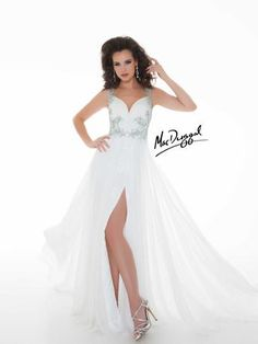 Mac Duggal White Chiffon Pageant Gown style 64513Y