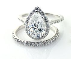 Moissanite Engagement Ring Diamond Halo Custom Pear by RareEarth