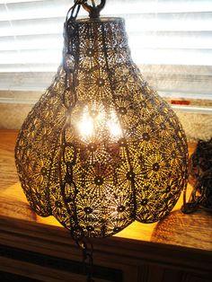 Awesome Pierced Brass Filigree Moroccan Hollywood Regency Vintage Swag Lamp | eBay