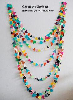 decor, birthday, parti garland, stuff, paper garland, geometr garland, garlands, parti idea, diy