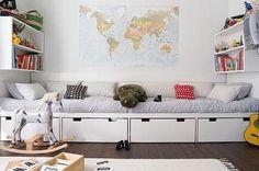 playroom storage, bench, map, kid rooms, boy rooms