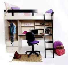 Cama arriba espacio abajo on pinterest loft beds - Cama con escritorio abajo ...