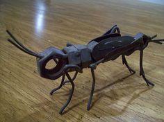 Nuts Bolts Old Rusty Welded Junkyard Metal Cricket Bug Art Sculpture | eBay