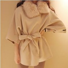 2013new women coats fur with cap female woolen cloak outerwear fur collar medium-long blended wool coat $36.00