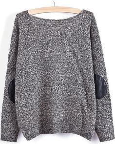 Grey Long Sleeve Elbow Patch Loose Sweater