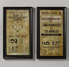 Vintage Baseball Ticket Art