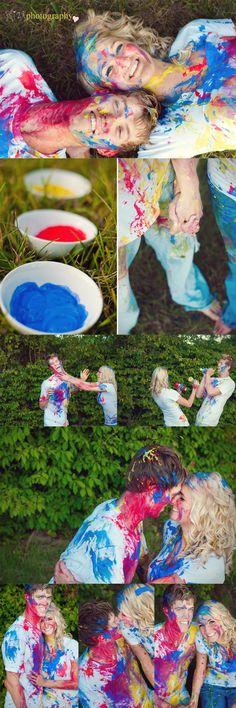 the best idea for engagement photos - a paint fight