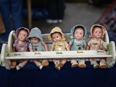 Dionne Quintuplets: Composite dolls manufactured in the 1930s by the American company Madame Alexander, depicting Marie, Emilie, Cecile, Annette, and Yvonne Dionne, brought in to the Wichita ROADSHOW in July 2008.