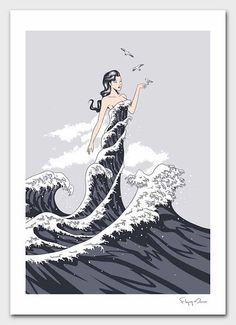Lady in the waves.