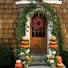 charming pumpkin filled entry