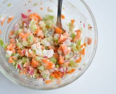 Chopped Veggie Salad: For a crunchy side dish, chop up radishes, carrots, and celery and simply top with your favorite light dressing. It's crazy-easy to make for a crowd and it will be gone in a flash. #healthyrecipe