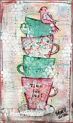 happi place, art journals, teacup, print