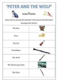 Music: 'Peter and the Wolf' Worksheets.....TPT $2.75.  Would adapt my own to include a picture of the characters too, for accomodating IEPs that needs visuals.
