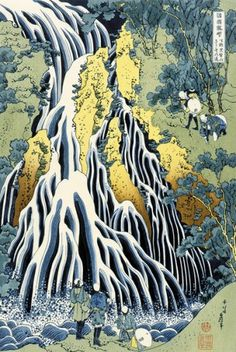 Katsushika Hokusai waterfalls, 黒髪山 きりふり, japanes art, ukiyo, 葛飾北斎 hokusai, hokusai katsushika, katsushika hokusai, 下野 黒髪山, hokusai katsusika