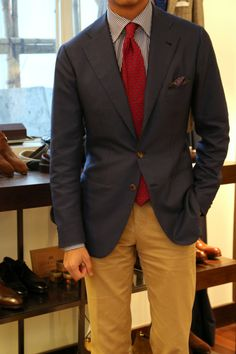 What great fitting blue blazer.