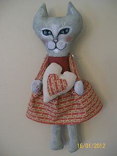 Tuxedo Kitty Cat Art Doll by Lori Cooper