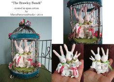 """Commission piece that I created featuring a total of 5 bunnies  (that represented the clients family)inside a 3"""" diameter birdcage"""
