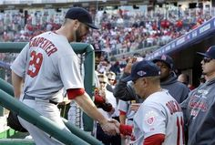 Game 3 of the NLDS- Chris Carpenter gets congrats after he was taken out of the game . Great pitching by Carp  10-10-12