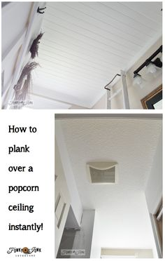 Don't like popcorn ceilings? No problem! Plank right over top of it! Full tutorial at FunkyJunkInteriors.net