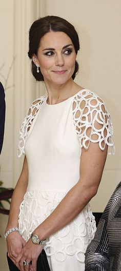 Catherine, Duchess of Cambridge listens to an address by the Governor General Peter Cosgrove during a reception hosted by the Governor General Peter Cosgrove and Her excellency Lady Cosgrove at Government House on April 24, 2014 in Canberra, Australia.