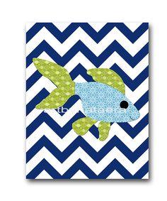 Sea Fish Nursery Baby Boy room decor art print