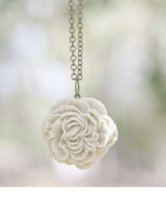 Cream Ivory Peony Flower Necklace // Bridesmaid Gifts // Country Outdoor Wedding // Maid of Honor Gift // Bridesmaid Necklace. $17.00, via Etsy.